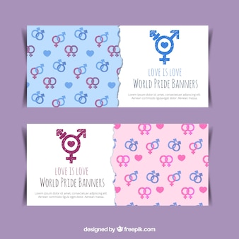 Banners with gender symbols