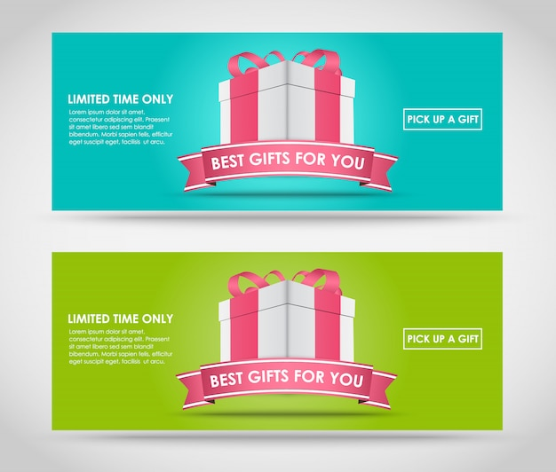 Banners with gift box
