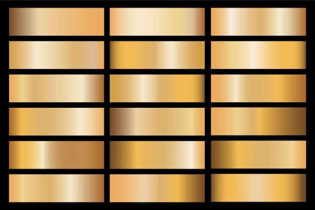 Banners with gold and bronze gradient texture backgrounds.