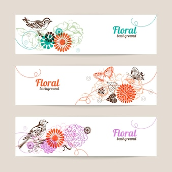 Banners with hand drawn floral background
