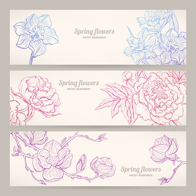 Banners with hand-drawn flowers