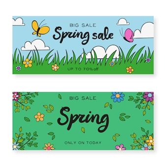 Banners with hand drawn spring elements