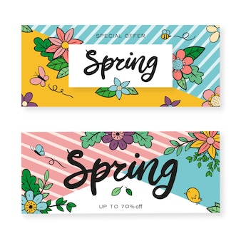Banners with hand drawn spring flowers