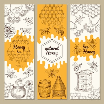 Banners with honey product pictures. bee, honeycomb. vector illustrations. sweet honey natural banner collection