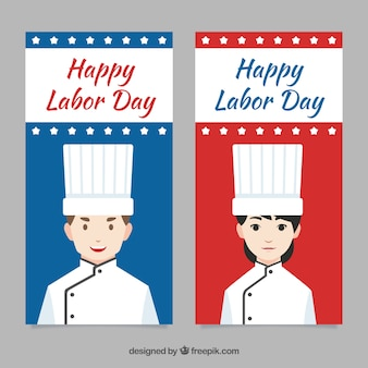 Banners with male and female chefs on labour day