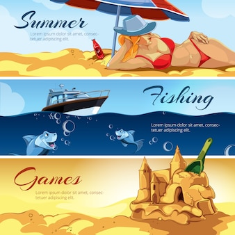 Banners with pictures of summer activities