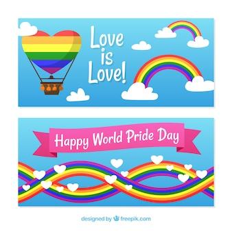 Banners with pride day rainbow