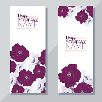 Banners with purple flowers