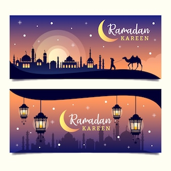 Banners with ramadan theme