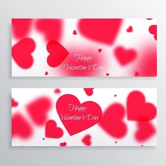 День святого валентина баннеры с размытыми сердца