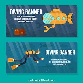 Banners with a scuba diver and yellow submarine