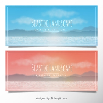 Banners with a seaside landscape