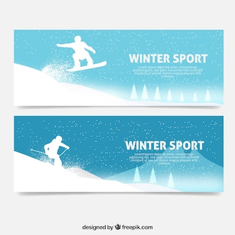 Banners with silhouettes practicing winter sports