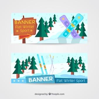 スノーボードや木とバナー