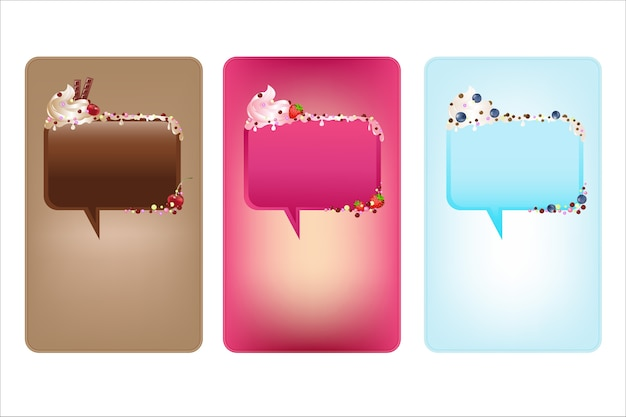 Banners with speech bubbles with ice-cream,  on white background,  illustration