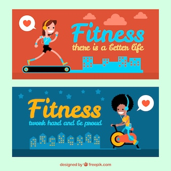Banners with sporty women and the city background