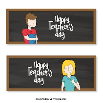 Banners with teachers and blackboards background