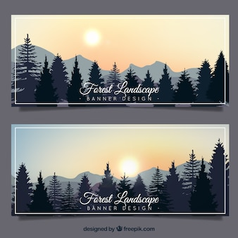 Banners with trees on a beautiful landscape