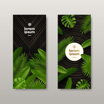 Banners with tropical leaves