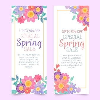 Banners with watercolor spring elements