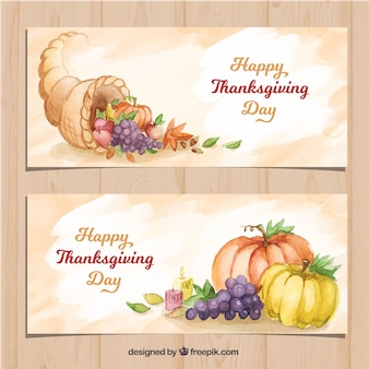 Banners with watercolor thanksgiving elements