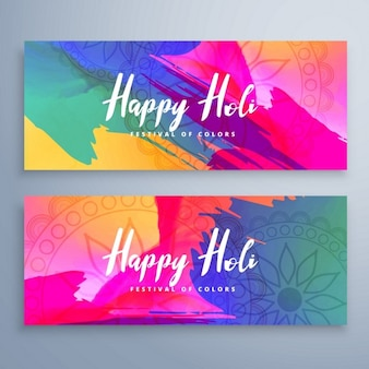 Banners with watercolors, holi festival