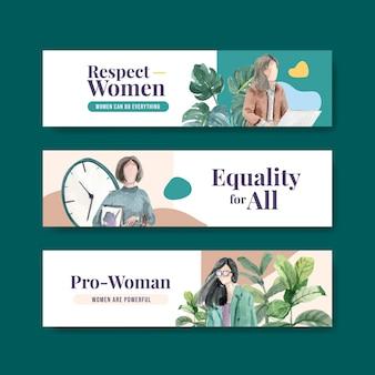 Modello di bannner con concept design della giornata mondiale dell'acqua per la pubblicità e l'illustrazione dell'acquerello di marketing