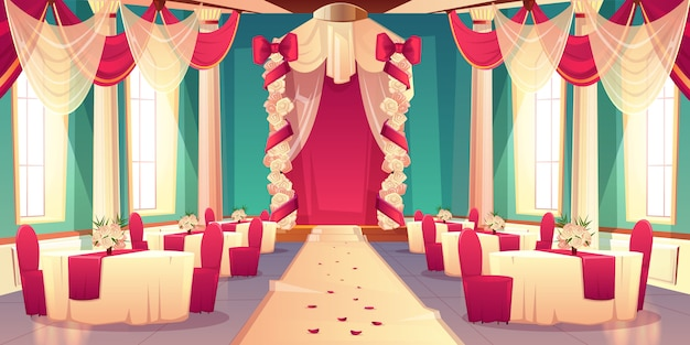 Banquet hall, ballroom in castle ready for wedding ceremony cartoon vector interior decorated flower