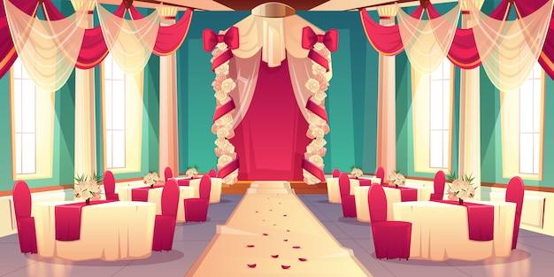 Банкетный зал, бальный зал в замке готов к свадебной церемонии мультфильм вектор интерьер украшенный цветок