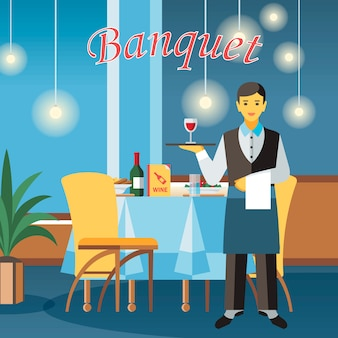 Banquet hall flat vector illustration