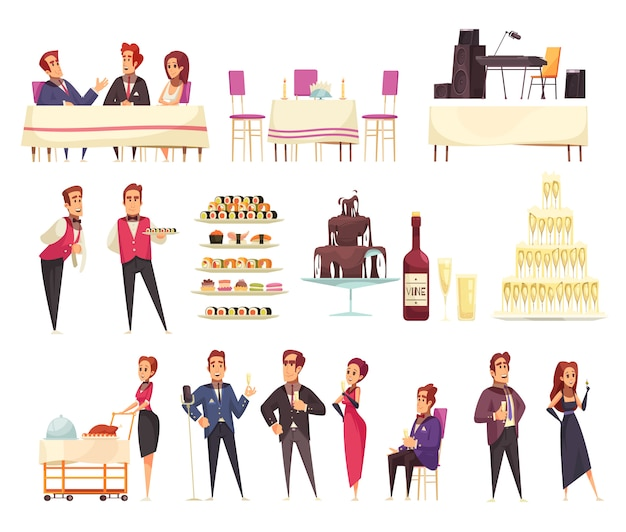 Banquet set of cartoon icons service staff and guests food music equipment interior elements