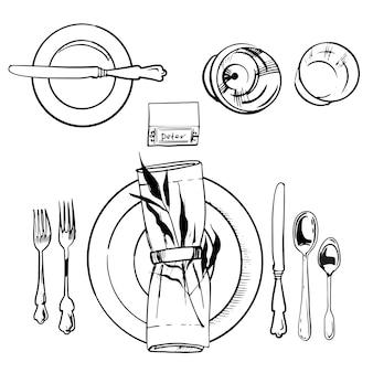 연회 식기 세트. 스케치 그림. 칼과 숟가락, 접시와 포크 그림