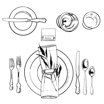 Banquet tableware set.  sketch illustration. knife and spoon, plate and fork illustration