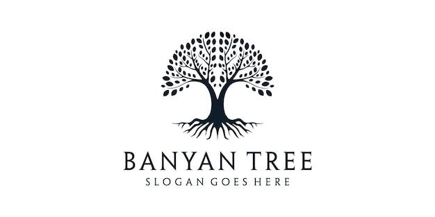 根の自然シルエットロゴデザインのガジュマルの木