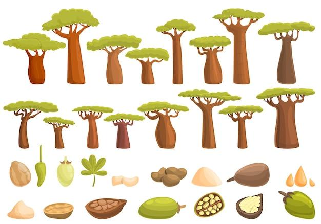 바오밥 아이콘을 설정합니다. 웹 디자인을 위한 바오밥 나무 벡터 아이콘의 만화 세트