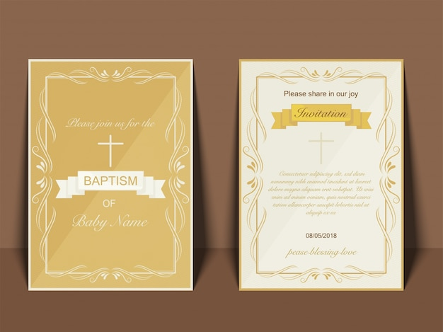 Baptism invitation card design with cross symbol