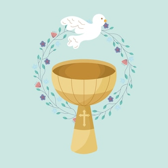 Baptismal font with holy spirit and floral crown, cartoon illustration