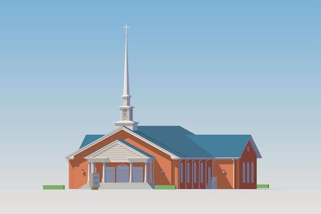 バプテスト教会。明るい背景に孤立した教会。コレクション