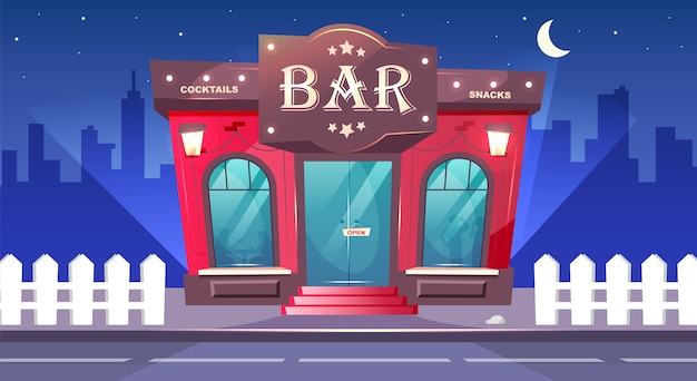 야간 컬러 일러스트에서 바입니다. 밤에는 보도가있는 지역 카페. 고급 술집 외관. 음료를위한 장소. 붉은 벽돌 건물. 배경에 아무도없는 도시 만화 도시