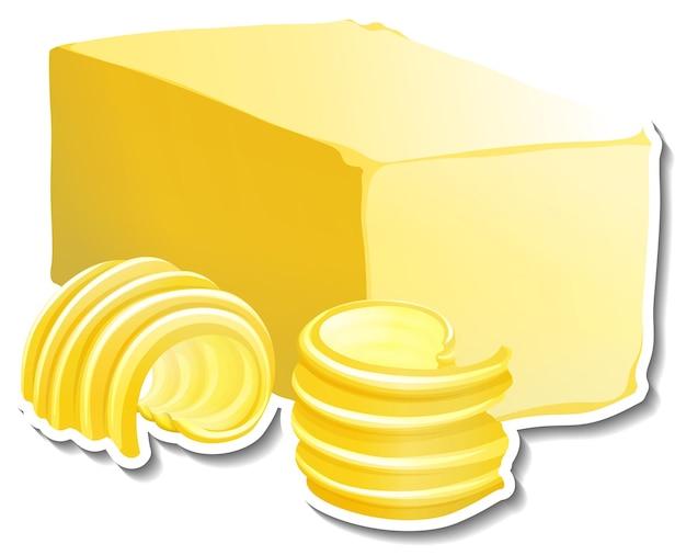 Barretta di burro con adesivo fetta di burro su sfondo bianco
