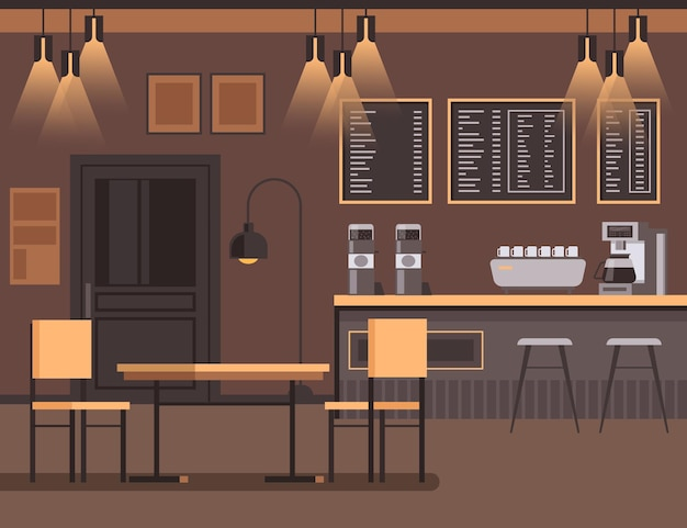바 카페 인테리어 가구 개념 평면 디자인 일러스트 레이션