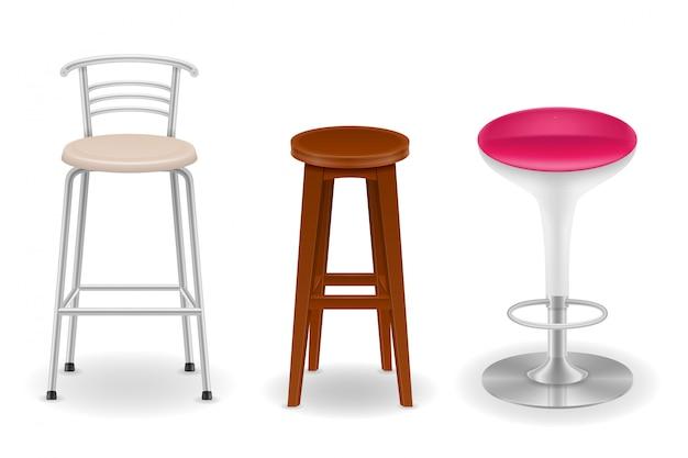 Bar chair stool set icons