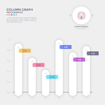 Bar chart or comparison diagram with rounded paper white columns placed on horizontal axis, number or fraction indication and place for text. creative infographic design template. vector illustration.