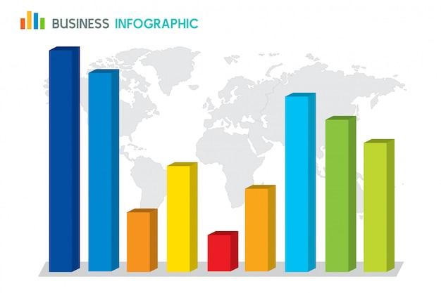 Bar chart diagram infographic on globe