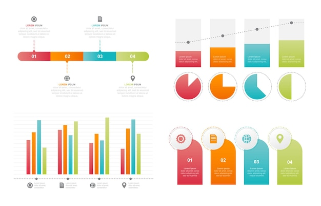 Bar chart graph diagram statistical business infographic element set Premium Vector
