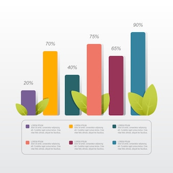 Bar chart graph diagram statistical business infographic illustration with nature leaf