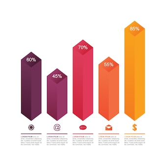Bar chart graph diagram statistical business infographic template illustration