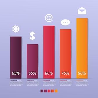 Bar chart graph steps diagram statistical business infographic illustration