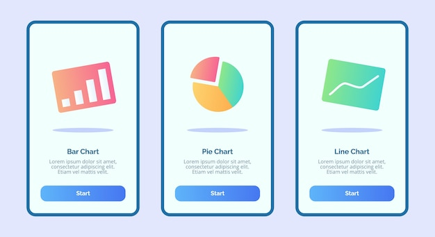 Bar chart pie chart line chart for mobile apps template banner page ui
