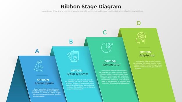 4つのカラフルなオーバーレイリボン要素を持つ棒グラフ。リアルなインフォグラフィックデザインテンプレート。ビジネスの成長、進捗状況と開発の視覚化、プレゼンテーションのための創造的なベクトルイラスト。